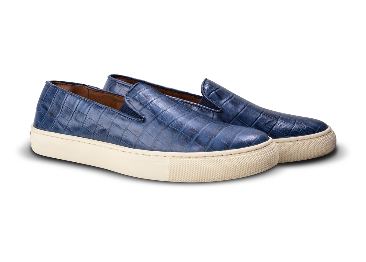 Slip On Croco Azul