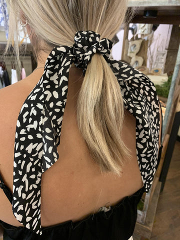 Black and White Python Scrunchy