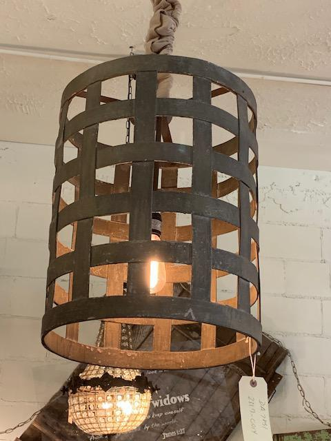 Wooden Weaved Basket Light