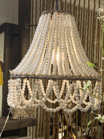 Wooden Bead Pendant Light