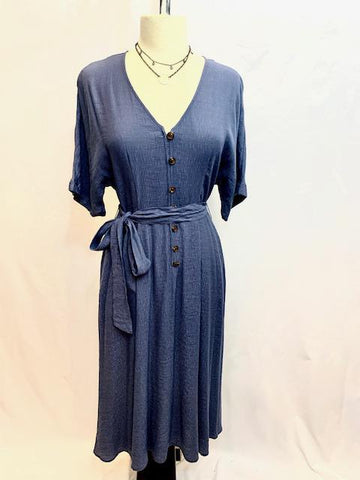 Blue Violet Dress with Pockets