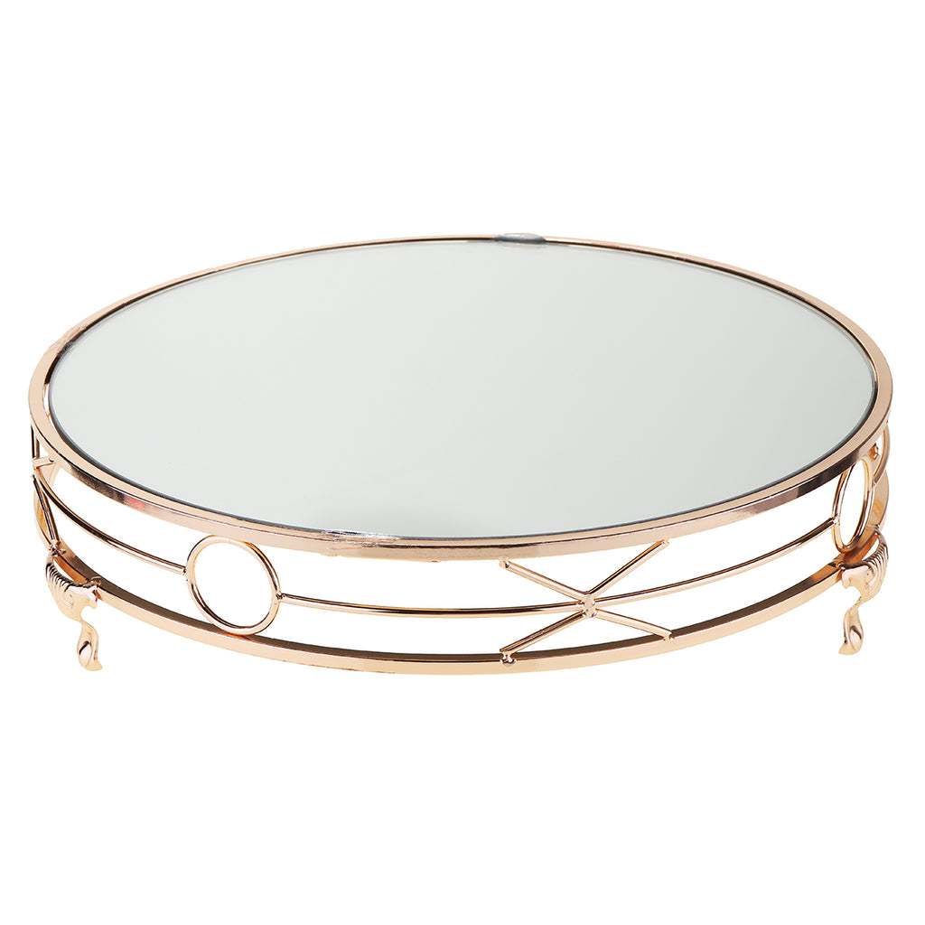 Skyorium 14'' Gold Plated Mirror Cake Stand