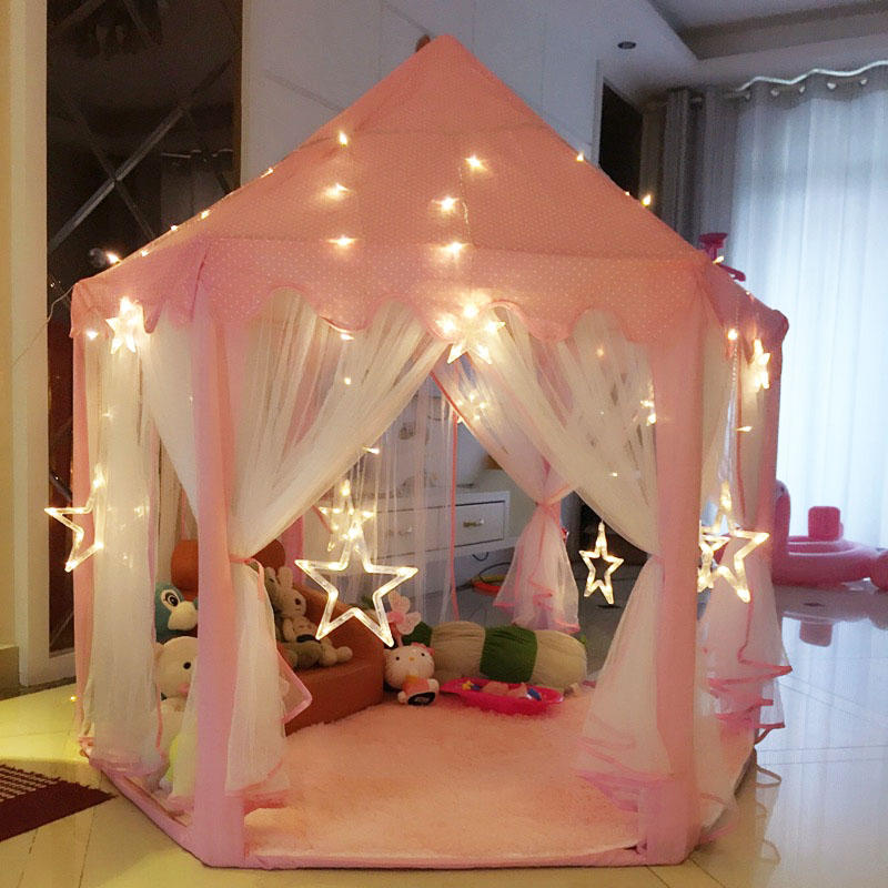 Skyorium™ Pink Girls Castle Play Tent Princess Playhouse Children Kids Indoor Toys