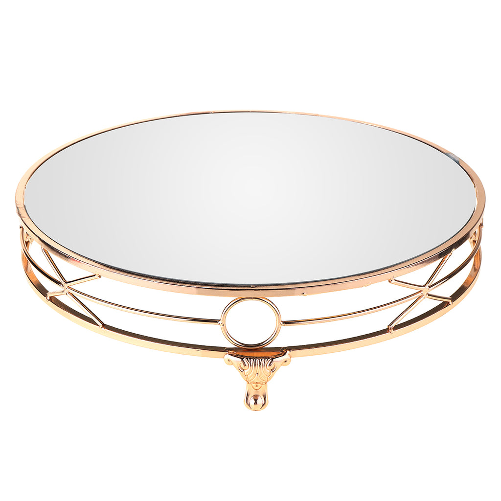 Skyorium™ 14'' Gold Plated Mirror Cake Stand