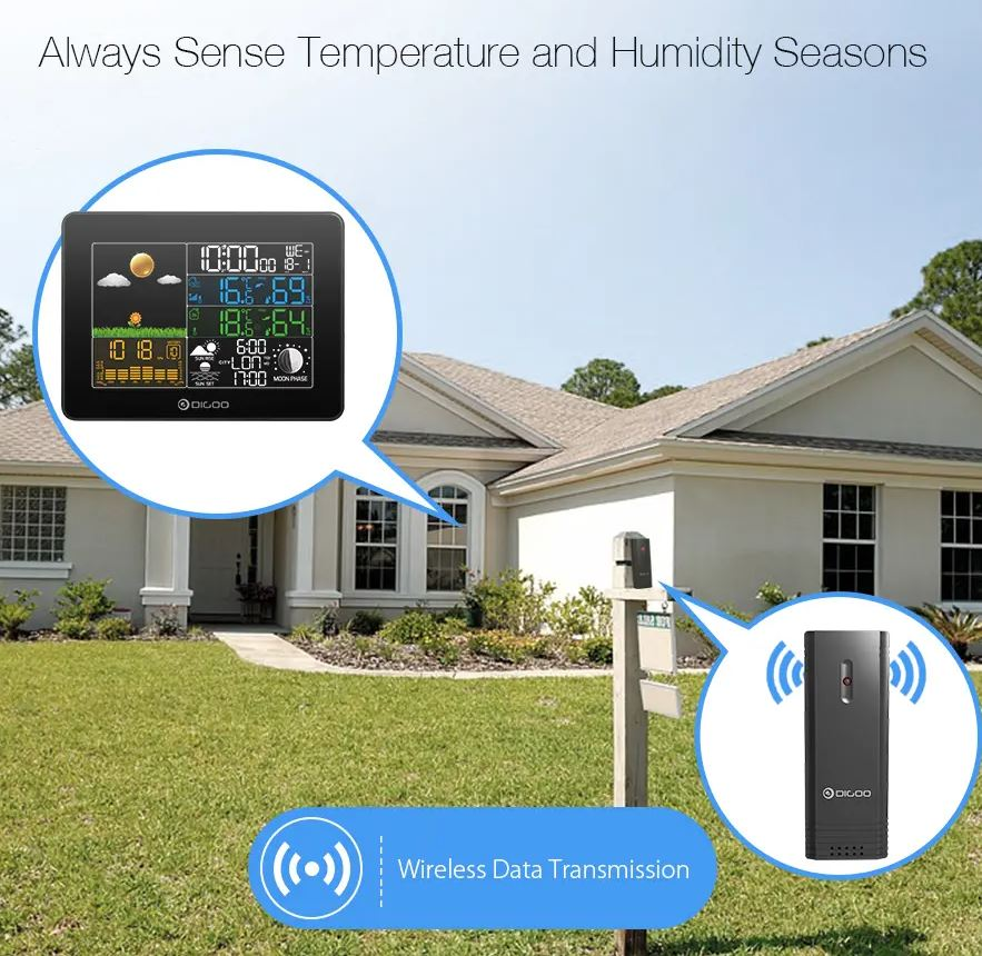 Skyorium™ Wireless Pro Weather Station Home Thermometer USB Outdoor Forecast Sensor Clock