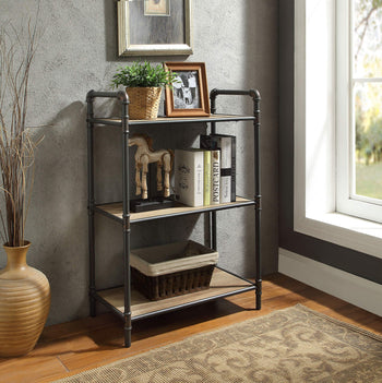 Skyorium Three Tier Metal Bookshelf With Wooden Shelves, Oak Brown & Gray
