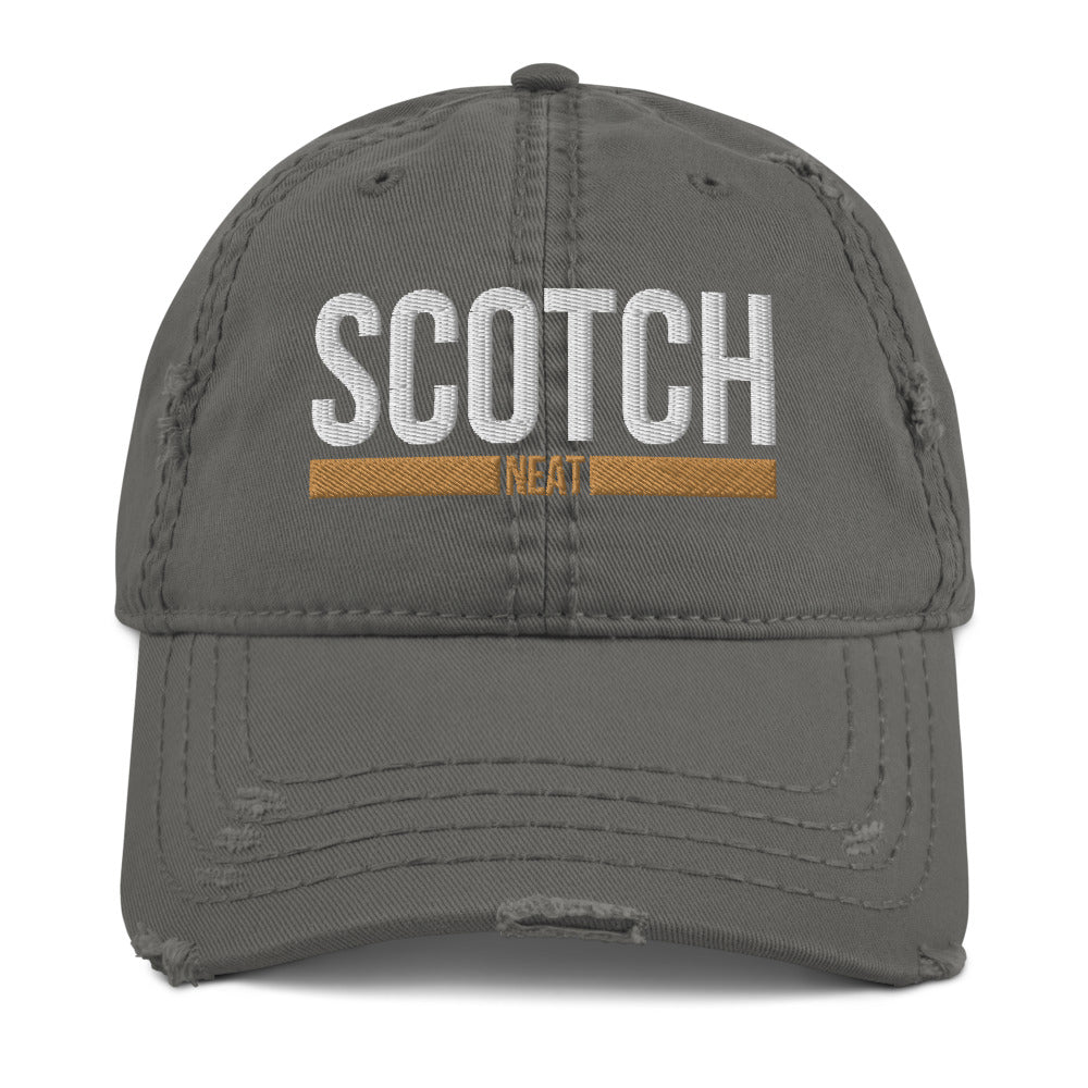 """Scotch, Neat"" 3D Puff Distressed Dad Hat"