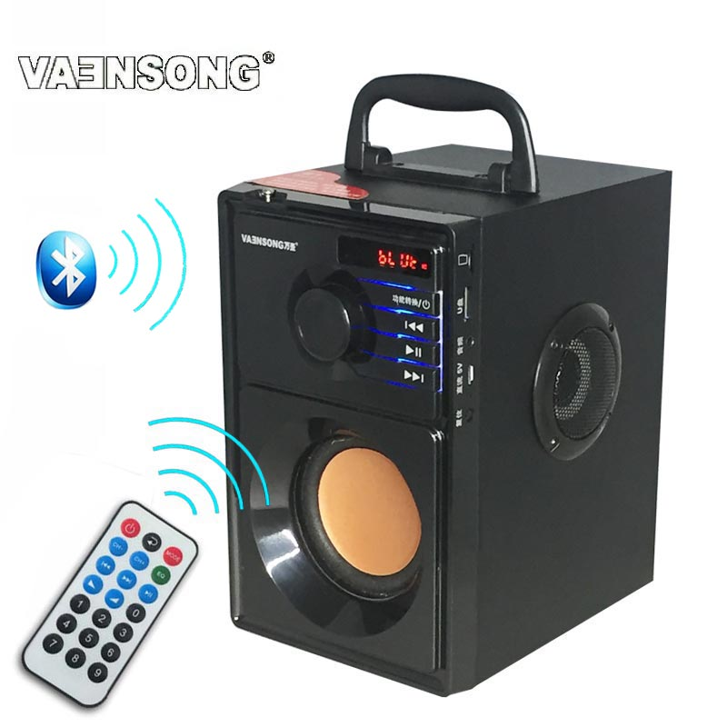 HiFi 2.1 Stereo Wooden Subwoofer Bluetooth Speaker FM Radio Portable Speakers Mp3 Play Super Bass  Loudspeaker Computer Column