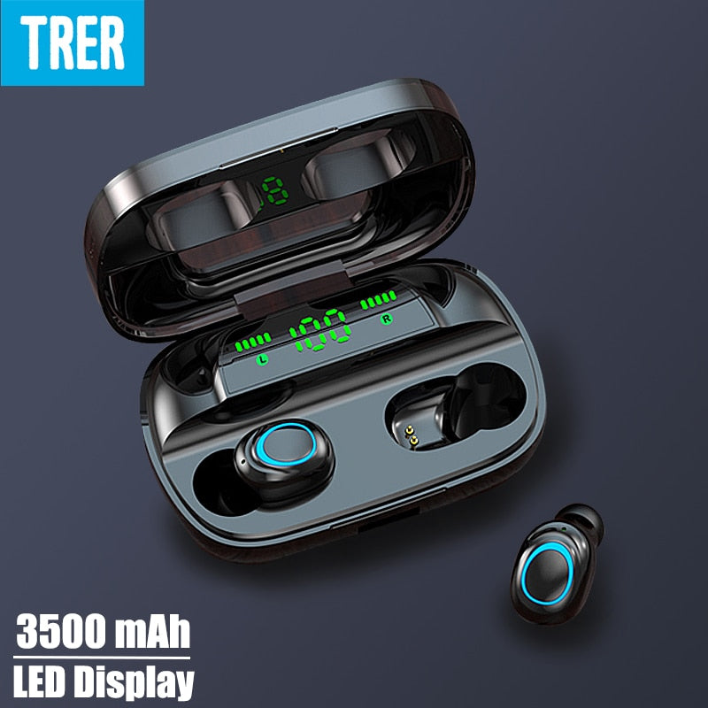 TRER In-Ear Earbud Headphones TWS 5.0 Bluetooth Earphone LED Digital Display Fone Dynamic Bass Sound ecouteur auriculares cuffie