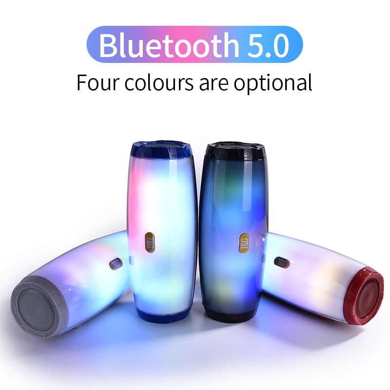 TG165 Portable Bluetooth Speaker Stereo Leather Column 5 Flash Style LED Subwoofer Wireless Outdoor Music Box FM Radio TF Card