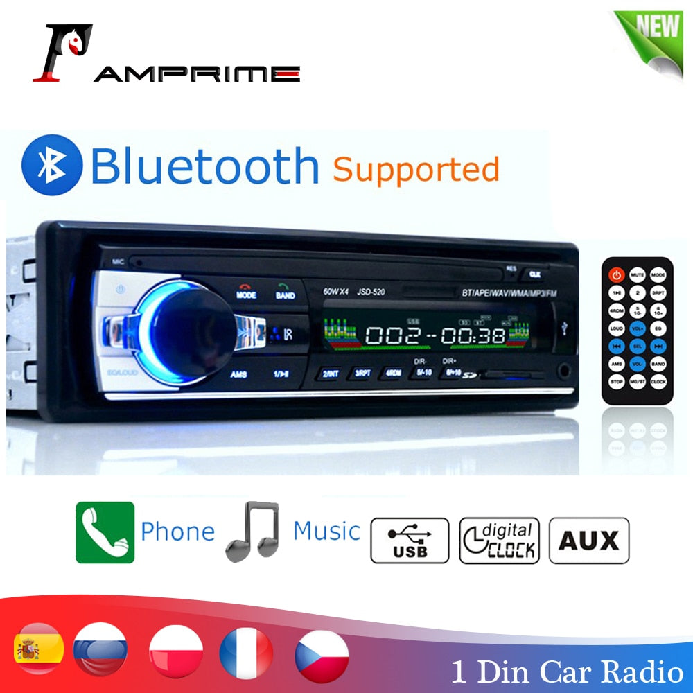 Amprime bluetooth autoradio car stereo radio fm aux input sd usb receiver JSD-520 12v in-dash 1 din car mp3 multimedia player