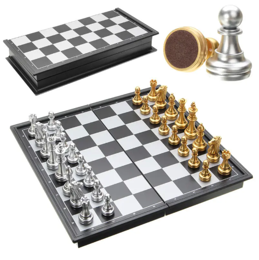 Games2GO™  Chess Game Silver Gold Pieces Folding Magnetic Board Contemporary Set