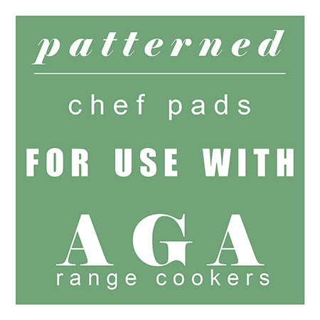 Patterned Chef Pads for use with Aga range cookers.