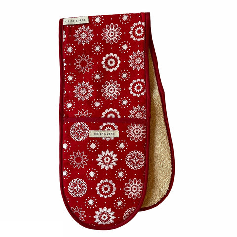 Crisp & Dene Christmas Snowflake Double Oven Glove - The Chef Pad Shop