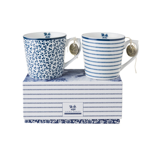Laura Ashley Blueprint - Gift Set of 2 Mini Mugs - Candy Stripe & Floris - The Chef Pad Shop