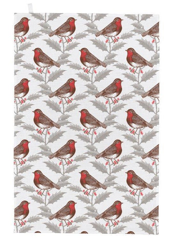 Thornback & Peel - Christmas Tea Towel - Robin & Holly - The Chef Pad Shop