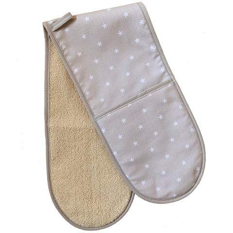 Crisp & Dene Warm Grey Double Oven Glove with Stars Print - The Chef Pad Shop
