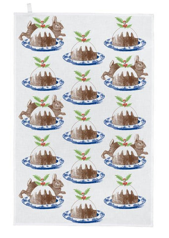 Thornback & Peel - Christmas Tea Towel - Rabbit & Pudding - The Chef Pad Shop