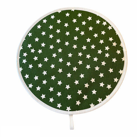 Crisp & Dene Green Chef Pad with Cream Stars for Aga - The Chef Pad Shop