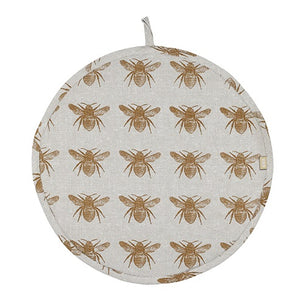 Mustard Honey Bee Recycled Cotton Hob Cover For Use With Aga Range Cookers - The Chef Pad Shop