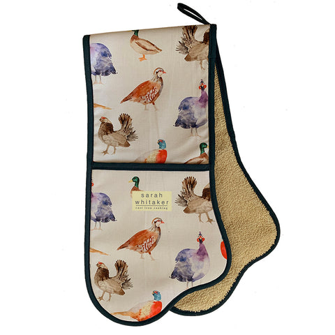 Sarah Whitaker Game Birds Double Oven Glove - The Chef Pad Shop