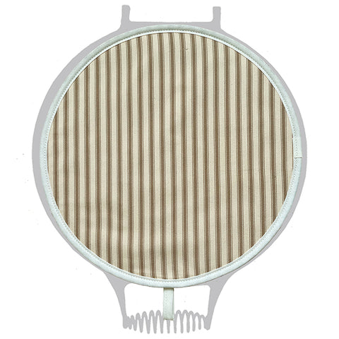 Taupe & Cream Ticking Stripe Chefs Pad for use with Agas - The Chef Pad Shop