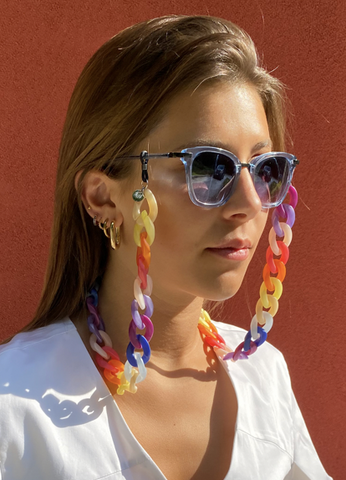 AMORE ITALIA Glasses Chain Rainbow Opaque