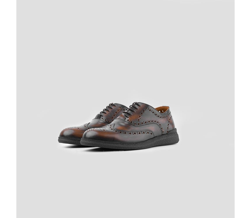 Oxford Wingtip L.I.F.E Brown Brushed Off