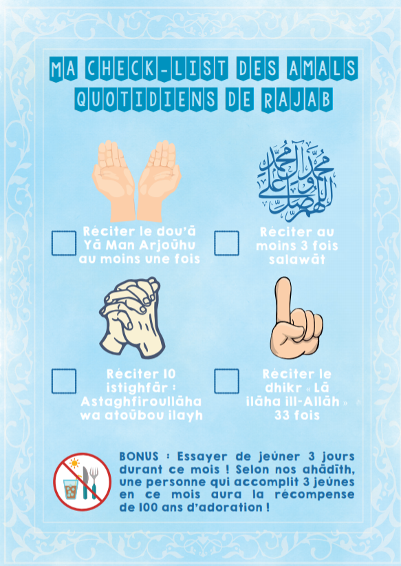 Childrens Rajab Checklist (French)