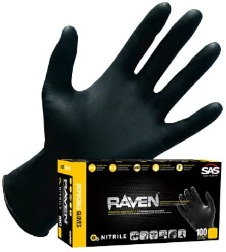 SAS Safety Raven Powder-Free Black Nitrile Gloves ( Box of 100 )