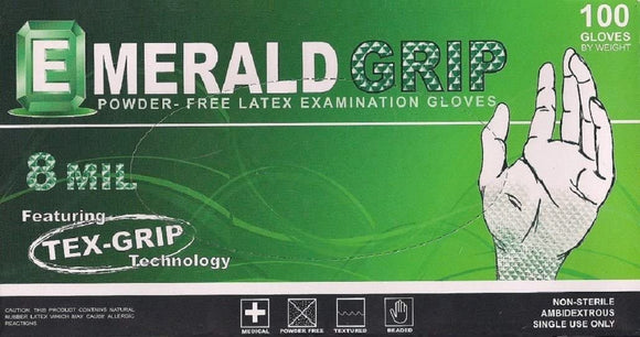 Emerald Grip Powder-Free Latex Gloves – 8 Mil