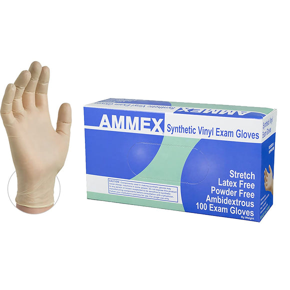 AMMEX Medical Ivory Stretch Synthetic Vinyl Gloves, Box of 100