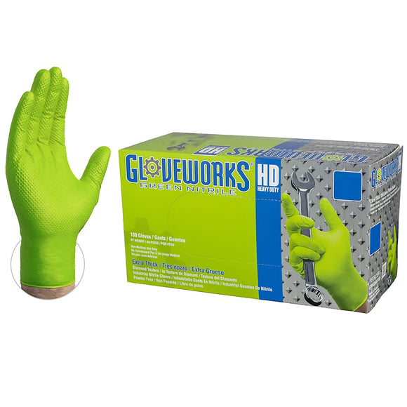 AMMEX Gloveworks HD Green Nitrile Industrial Gloves with Diamond Grip Box of 100