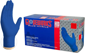 AMMEX Gloveworks HD Royal Blue Nitrile Industrial Gloves with Diamond Grip Box of 100