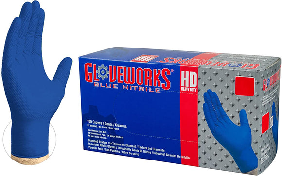 AMMEX Gloveworks HD Royal Blue Nitrile Industrial Gloves with Diamond Grip Box's of 100