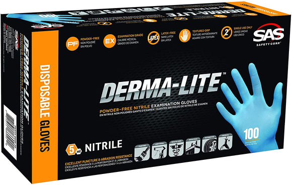 SAS Safety Derma-Lite Nitrile Disposable Powder Free Gloves ( Box of 100 )