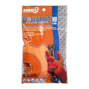 AMMEX Gloveworks HD Orange Nitrile Industrial Gloves with Diamond Grip Box of 100