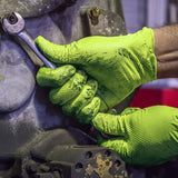 AMMEX Gloveworks HD Green Nitrile Industrial Gloves with Diamond Grip