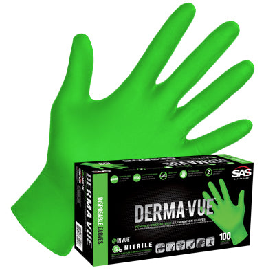 SAS Safety Derma-Vue® Green Extra Strength Hi-Viz Disposable Gloves ( Box of 100 )