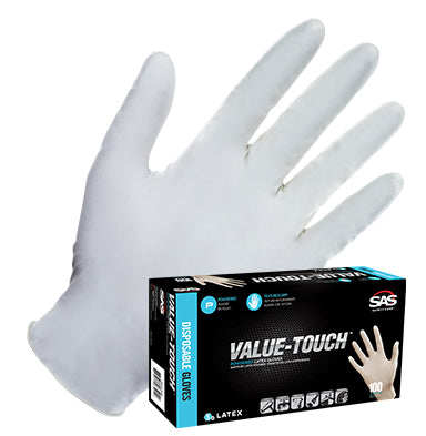 SAS Safety Value-Touch Latex Disposable Gloves (Powdered or Powder-Free)