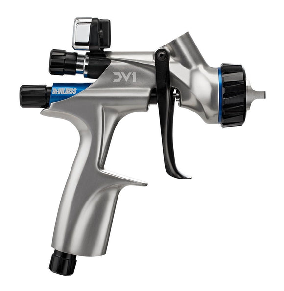 DeVILBISS® 704504 DV1 Basecoat HVLP Spray Gun 1.2, 1.3, 1.4 Fluid Tips w/Digital Gauge