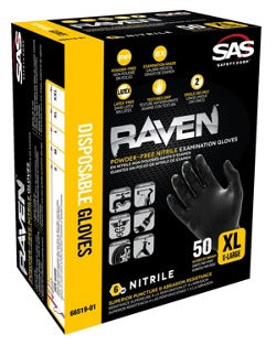 SAS Safety Raven Powder-Free Black Nitrile Gloves ( Box of 50 )