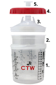 CTW CS125-400 Waterborne 125 Micron 400ml (13.5oz) Spray Cup System