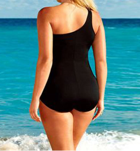 Single Strap Inserts Plus Size One Piece Swimsuit