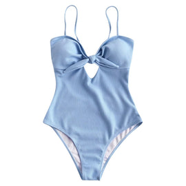 Sky Blue Cut-Out One Piece Swimsuit