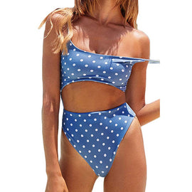 Flattering Polka Dot Lace-Up One Piece