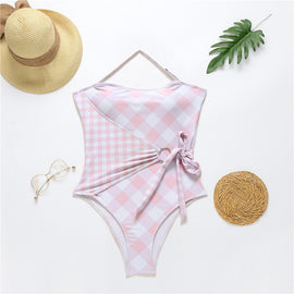 Pretty In Pink Plaid One Piece Swimsuit