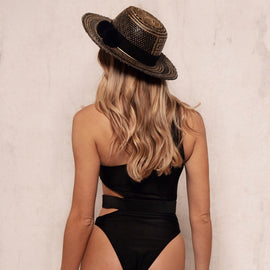 One Shoulder Vintage Inspired One Piece Swimsuit