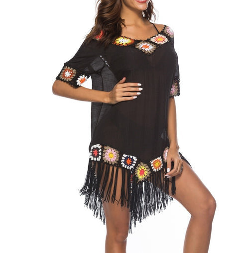Hippy Fringe Beachwear Cover-Up Mini Dress