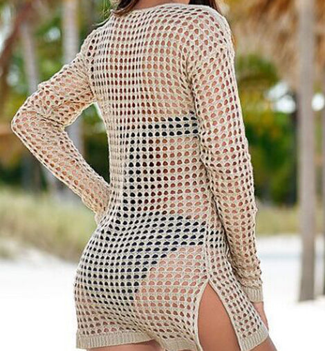 Mesh Knitted Swimsuit Tunic Dress